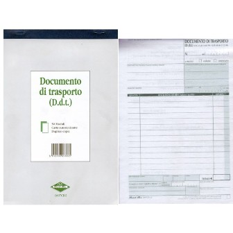 DOCUMENTO DI TRASPORTO (DDT) A5 CON CARTA CHIMICA 2 COPIE 1pz