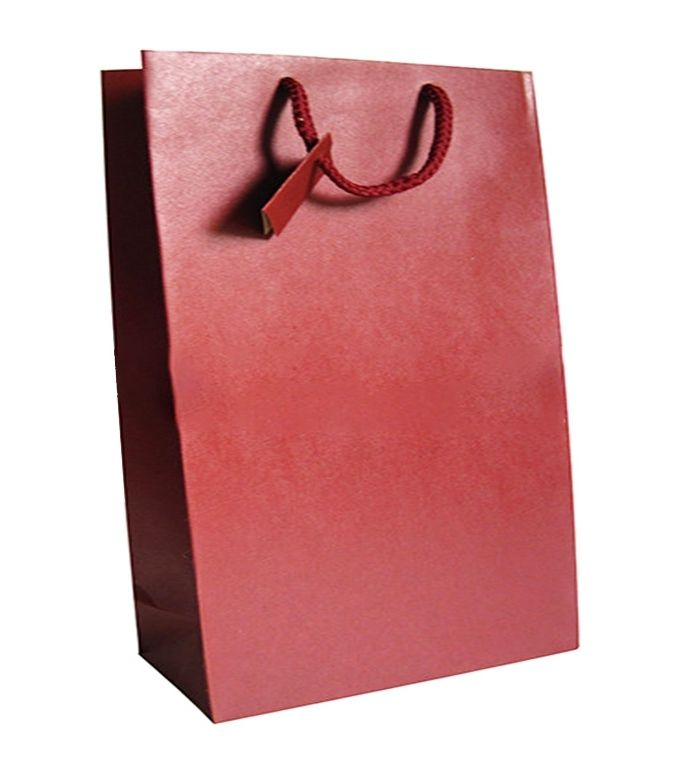 BORSA SHOPPER 22x29+10cm 12pz RINFORZATA M/CORD. BORDO'
