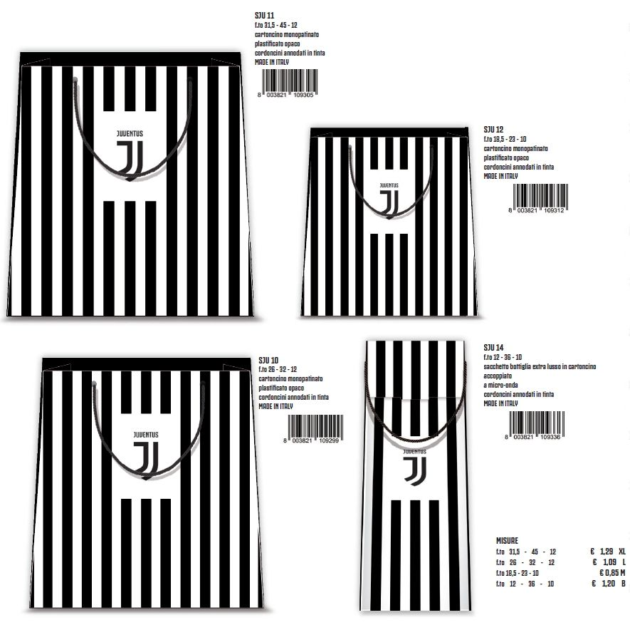 BORSA SHOPPER DECOR 18,5x23x10cm 12pz JUVENTUS - 4 soggetti assortiti