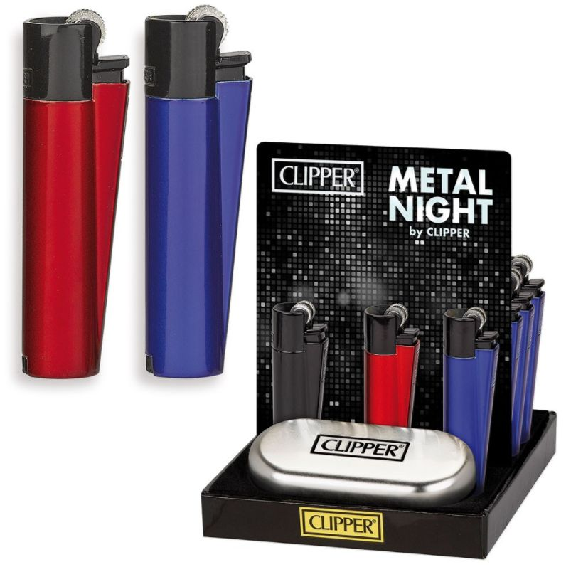 ACCENDINO CLIPPER PIETRINA 12pz METAL NIGHT + CUSTODIA METAL