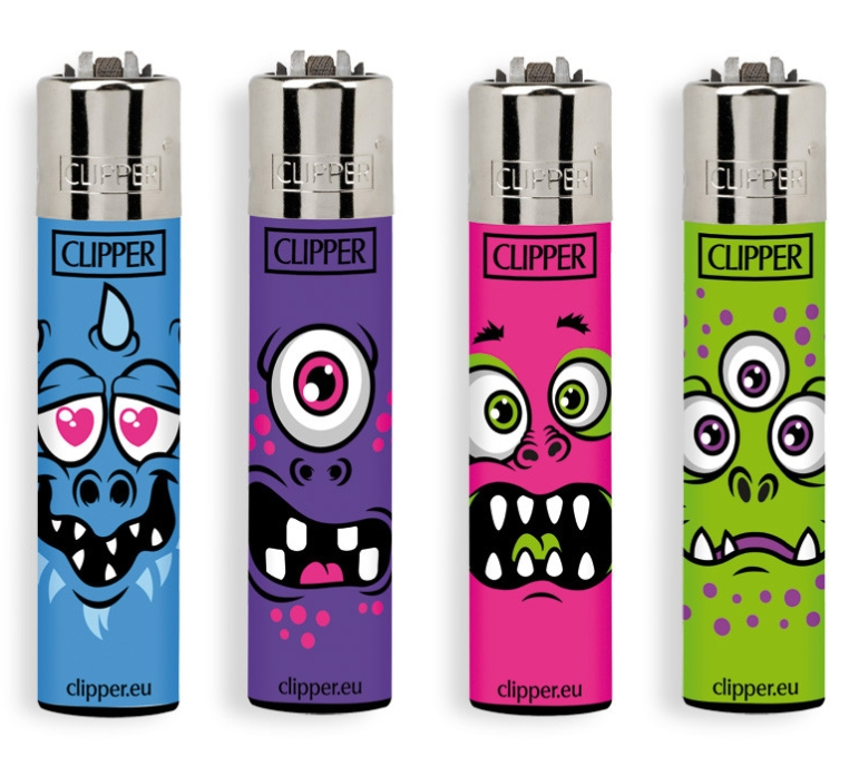 ACCENDINO CLIPPER PIETRINA 48pz MONSTER FACES