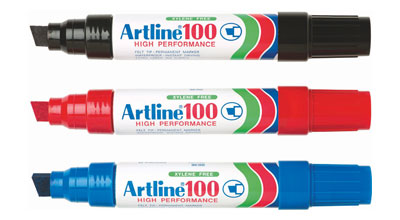PENNARELLI ARTLINE 100 6pz BLU JUMBO SCALPELLO TRATTO 2/5mm