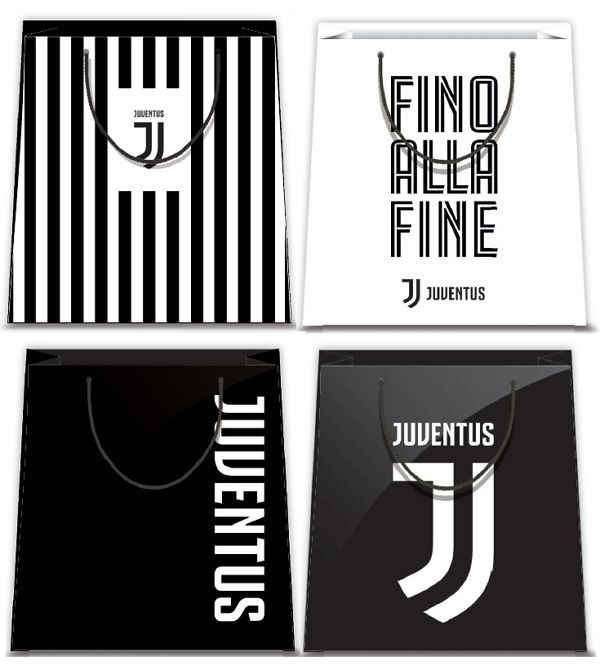 BORSA SHOPPER DECOR 26x32x12cm 12pz JUVENTUS - 4 soggetti assortiti