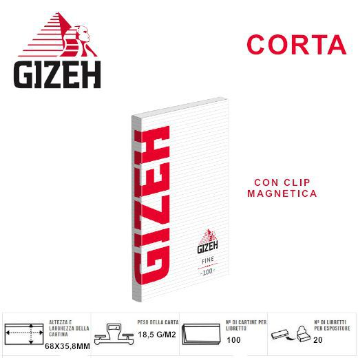 CARTINE GIZEH CORTA RED FINE 20pz Custodia Magnetica