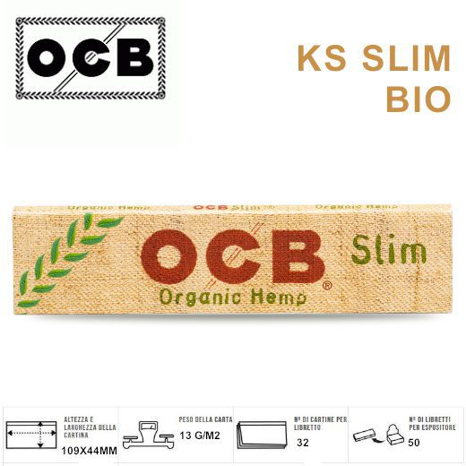 CARTINE OCB KS SLIM CANAPA ECO BIO 50pz