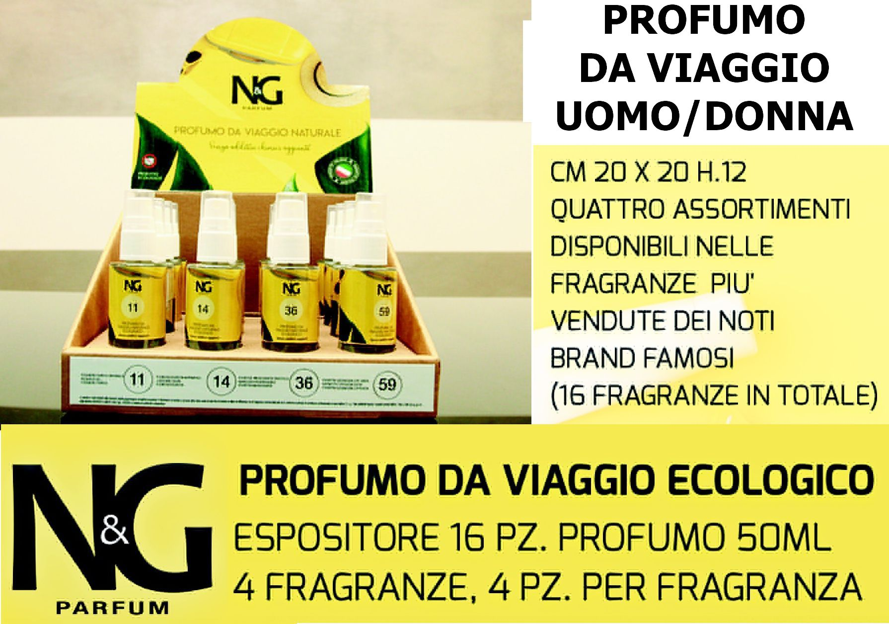 PROFUMO NG 50ml EXPO 16pz - DONNA / UOMO ASS. ECOLOGICO